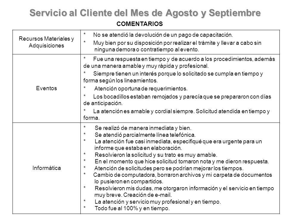 Servicio al Cliente del Mes de Agosto y Septiembre COMENTARIOS Recursos Materiales y Adquisiciones * No se atendió la devolución de un pago de capacitación.
