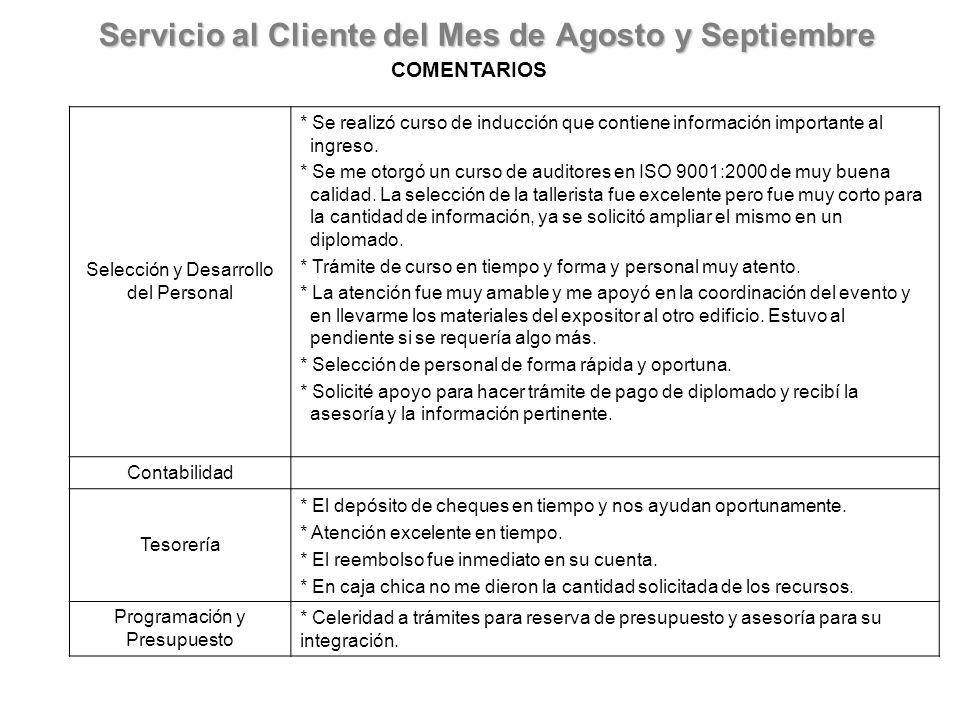 Servicio al Cliente del Mes de Agosto y Septiembre COMENTARIOS Selección y Desarrollo del Personal * Se realizó curso de inducción que contiene información importante al ingreso.