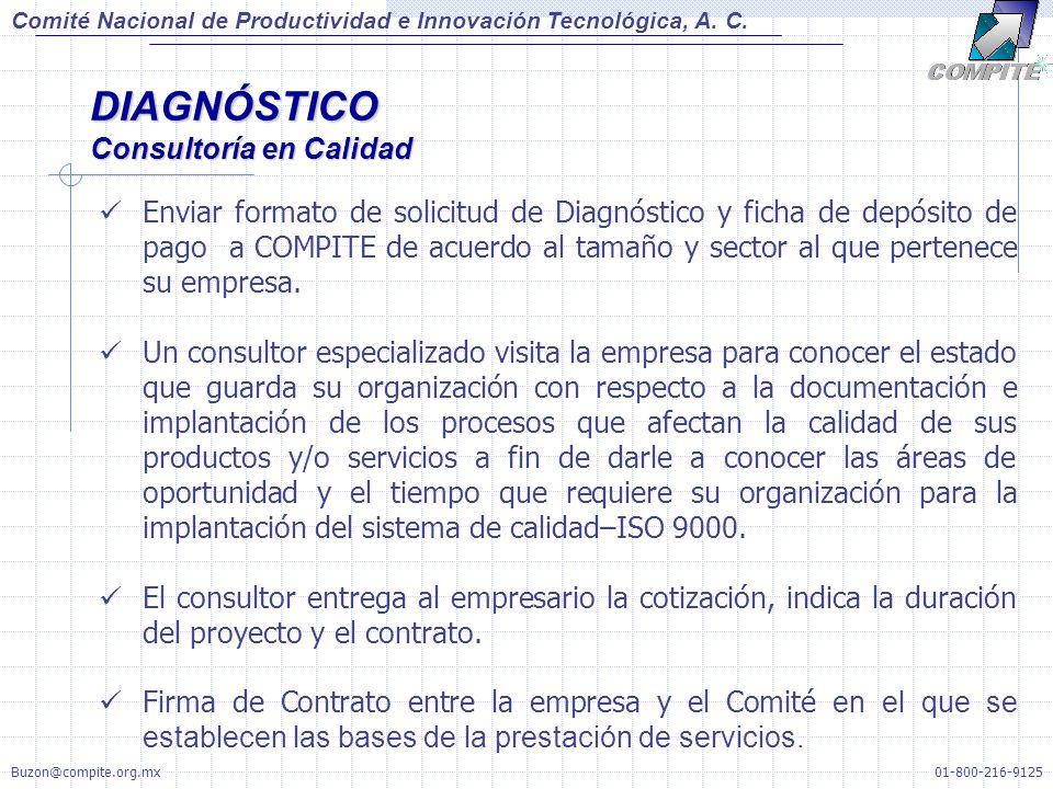 Enviar formato de solicitud de Diagnóstico y ficha de depósito de pago a COMPITE de acuerdo al tamaño y sector al que pertenece su empresa.