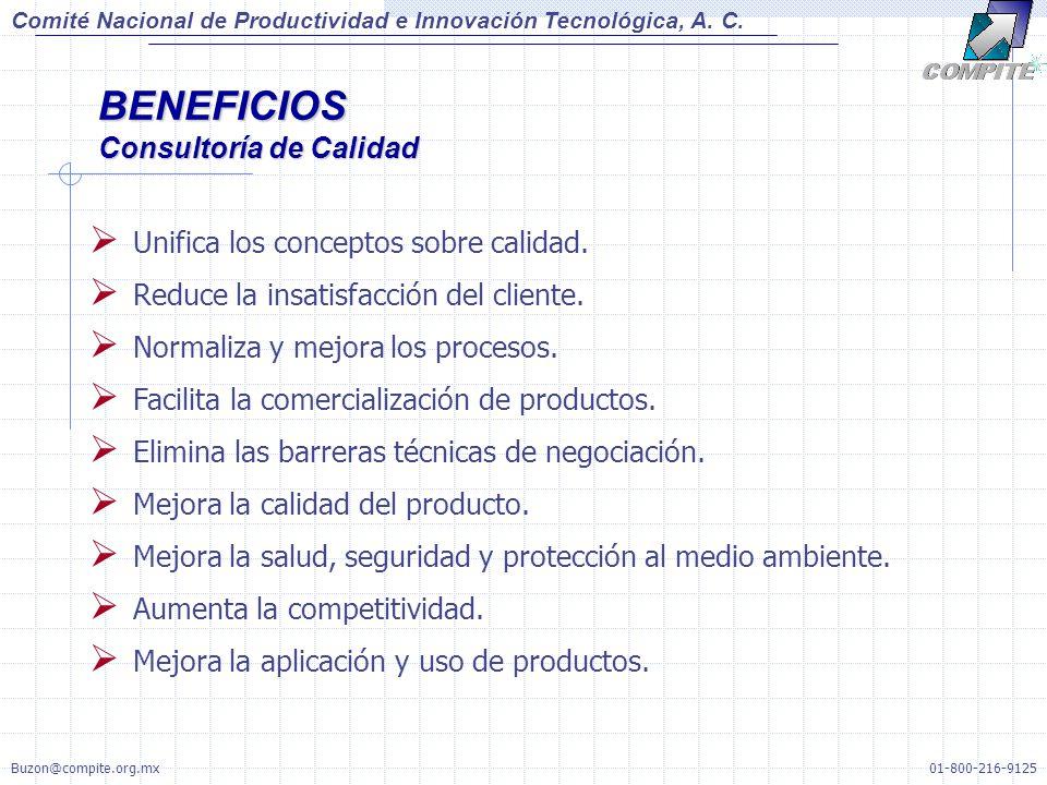 Unifica los conceptos sobre calidad. Reduce la insatisfacción del cliente. Normaliza y mejora los procesos. Facilita la comercialización de productos.