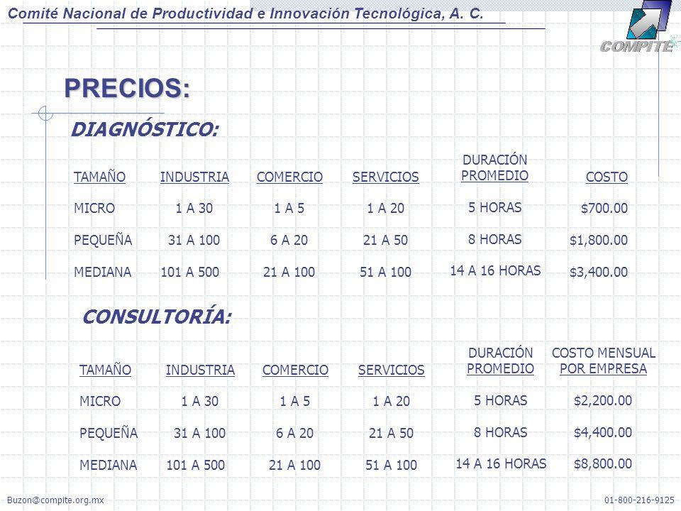 PRECIOS: Comité Nacional de Productividad e Innovación Tecnológica, A. C. DIAGNÓSTICO: TAMAÑO MICRO PEQUEÑA MEDIANA INDUSTRIA 1 A 30 31 A 100 101 A 50