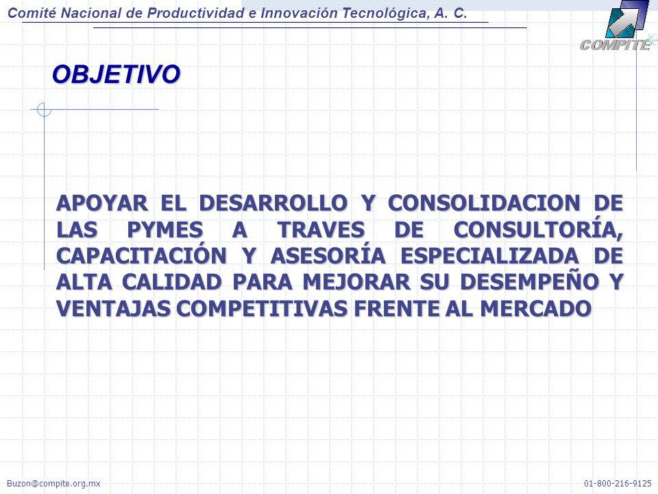 APOYAR EL DESARROLLO Y CONSOLIDACION DE LAS PYMES A TRAVES DE CONSULTORÍA, CAPACITACIÓN Y ASESORÍA ESPECIALIZADA DE ALTA CALIDAD PARA MEJORAR SU DESEMPEÑO Y VENTAJAS COMPETITIVAS FRENTE AL MERCADO OBJETIVO Comité Nacional de Productividad e Innovación Tecnológica, A.