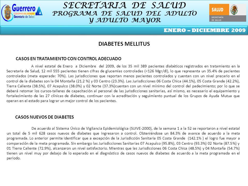 SECRETARIA DE SALUD PROGRAMA DE SALUD DEL ADULTO Y ADULTO MAYOR SECRETARIA DE SALUD PROGRAMA DE SALUD DEL ADULTO Y ADULTO MAYOR ENERO – DICIEMBRE 2009 DIABETES MELLITUS CASOS NUEVOS DE DIABETES De acuerdo al Sistema Único de Vigilancia Epidemiológica (SUIVE-2000), de la semana 1 a la 52 se reportaron a nivel estatal un total de 5 mil 628 casos nuevos de diabetes que ingresaron a control.