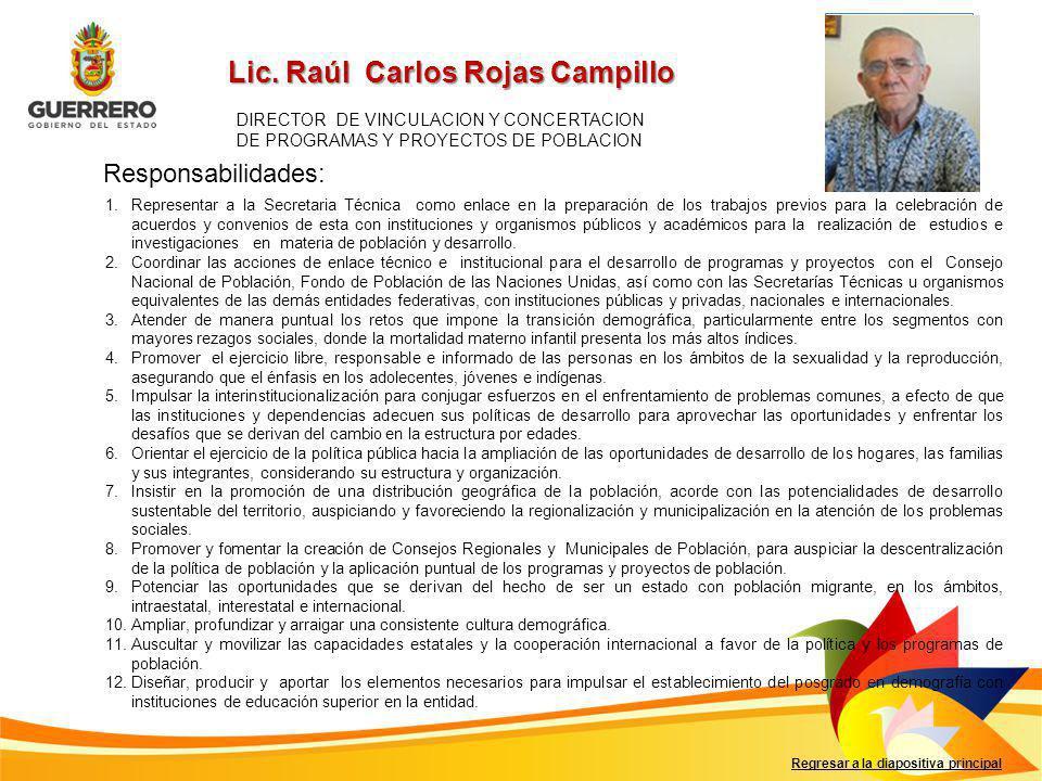 Lic. Raúl Carlos Rojas Campillo Responsabilidades: Regresar a la diapositiva principal DIRECTOR DE VINCULACION Y CONCERTACION DE PROGRAMAS Y PROYECTOS