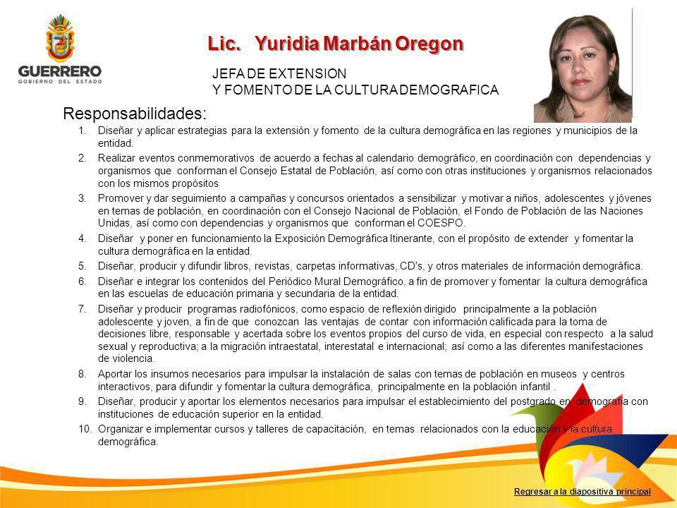 Responsabilidades: Regresar a la diapositiva principal 1.Diseñar y aplicar estrategias para la extensión y fomento de la cultura demográfica en las regiones y municipios de la entidad.