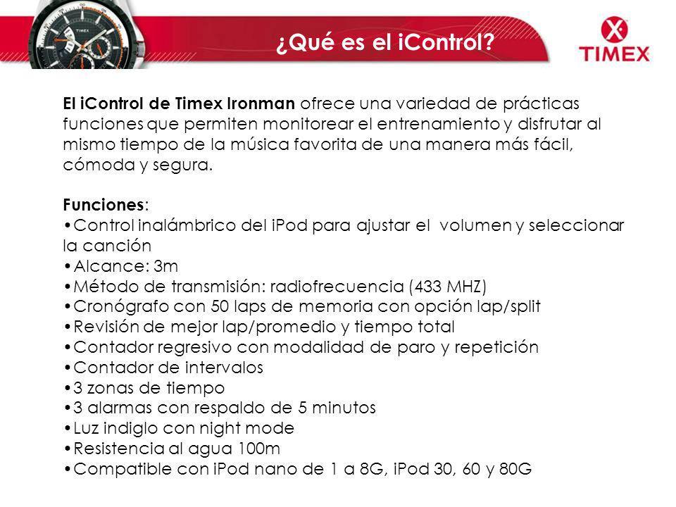 El iControl de Timex Ironman ofrece una variedad de prácticas funciones que permiten monitorear el entrenamiento y disfrutar al mismo tiempo de la mús