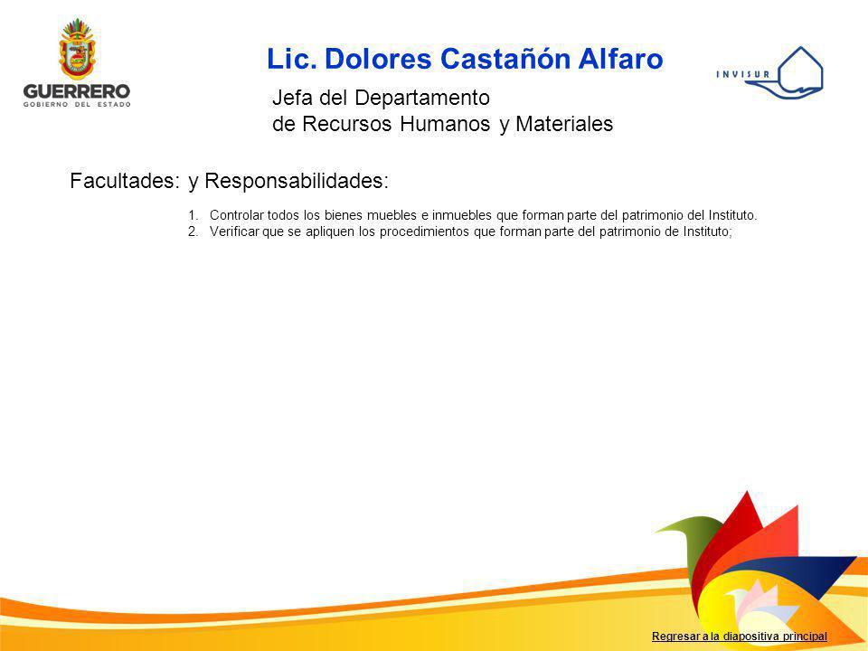 Regresar a la diapositiva principal Lic. Dolores Castañón Alfaro Jefa del Departamento de Recursos Humanos y Materiales Facultades: y Responsabilidade