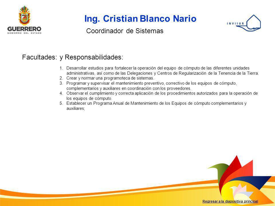 Ing. Cristian Blanco Nario Coordinador de Sistemas Facultades: y Responsabilidades: 1.Desarrollar estudios para fortalecer la operación del equipo de