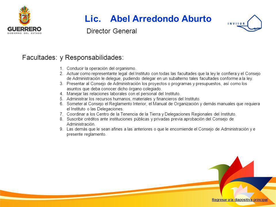 Lic. Abel Arredondo Aburto Facultades: y Responsabilidades: Regresar a la diapositiva principal Director General 1.Conducir la operación del organismo