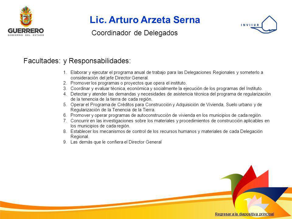 Lic. Arturo Arzeta Serna Coordinador de Delegados Facultades: y Responsabilidades: 1.Elaborar y ejecutar el programa anual de trabajo para las Delegac