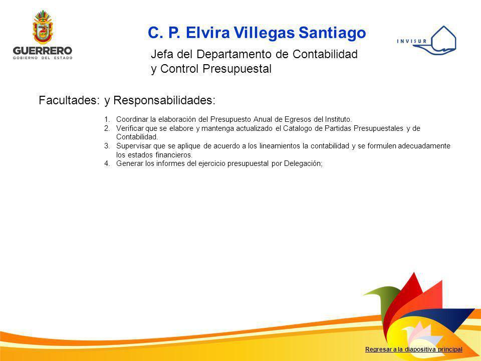 C. P. Elvira Villegas Santiago Jefa del Departamento de Contabilidad y Control Presupuestal Facultades: y Responsabilidades: 1.Coordinar la elaboració