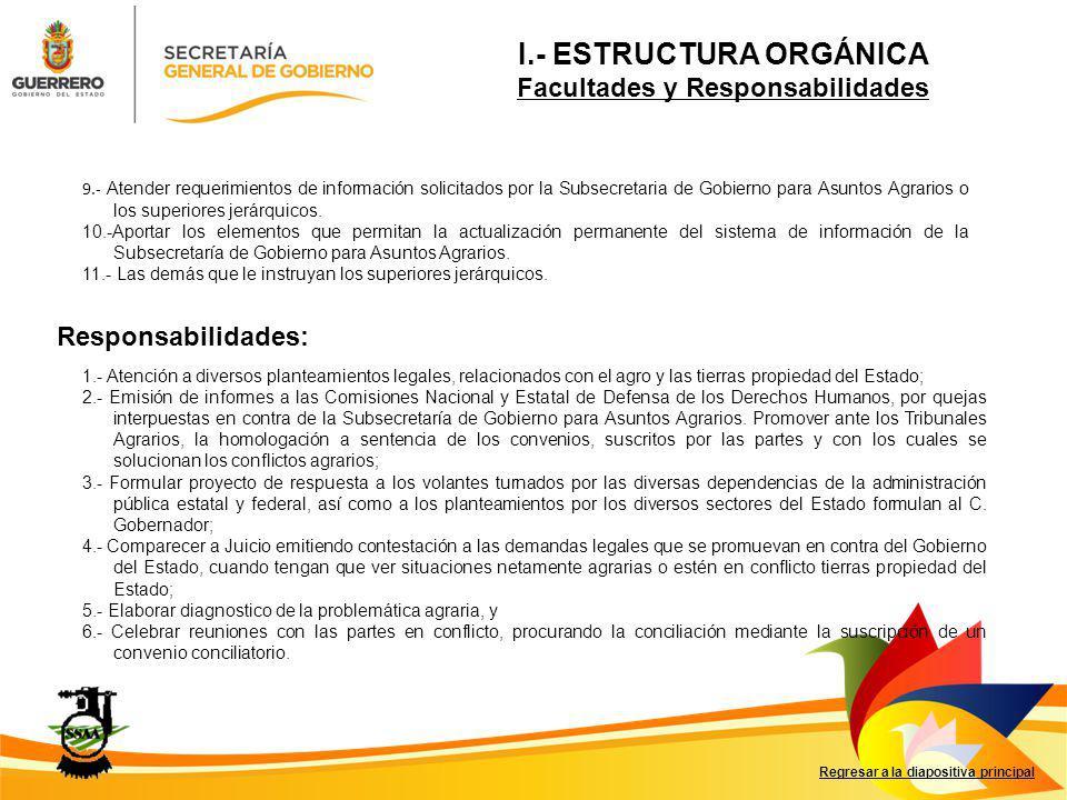 Facultades: Responsabilidades: Director de Límites Territoriales y Remunicipalización.