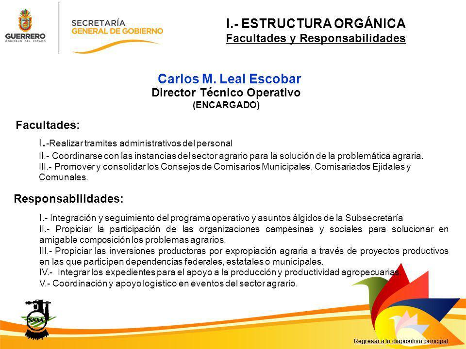 Carlos M. Leal Escobar Facultades: Responsabilidades: Regresar a la diapositiva principal Director Técnico Operativo (ENCARGADO) I. -Realizar tramites