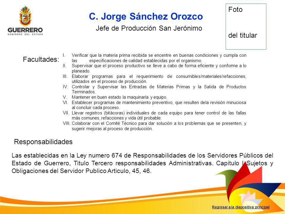 Facultades: Responsabilidades Regresar a la diapositiva principal Las establecidas en la Ley numero 674 de Responsabilidades de los Servidores Públicos del Estado de Guerrero, Titulo Tercero responsabilidades Administrativas.