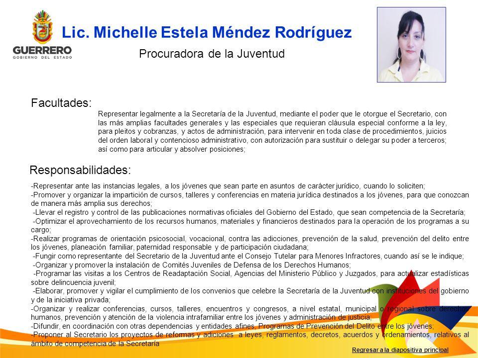 Facultades: Responsabilidades: Regresar a la diapositiva principal Representar legalmente a la Secretaría de la Juventud, mediante el poder que le oto