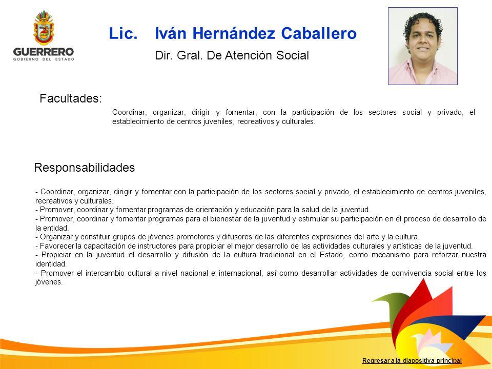 Facultades: Responsabilidades Regresar a la diapositiva principal Coordinar, organizar, dirigir y fomentar, con la participación de los sectores socia