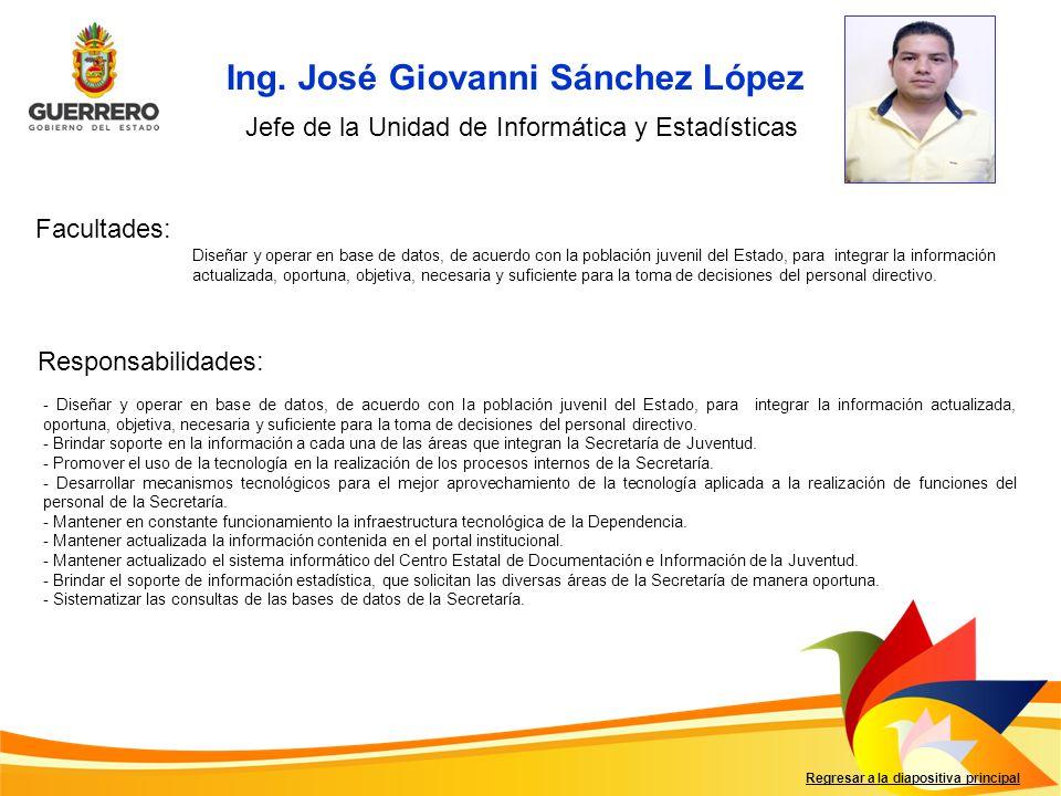 Ing. José Giovanni Sánchez López Facultades: Responsabilidades: Regresar a la diapositiva principal Jefe de la Unidad de Informática y Estadísticas Di