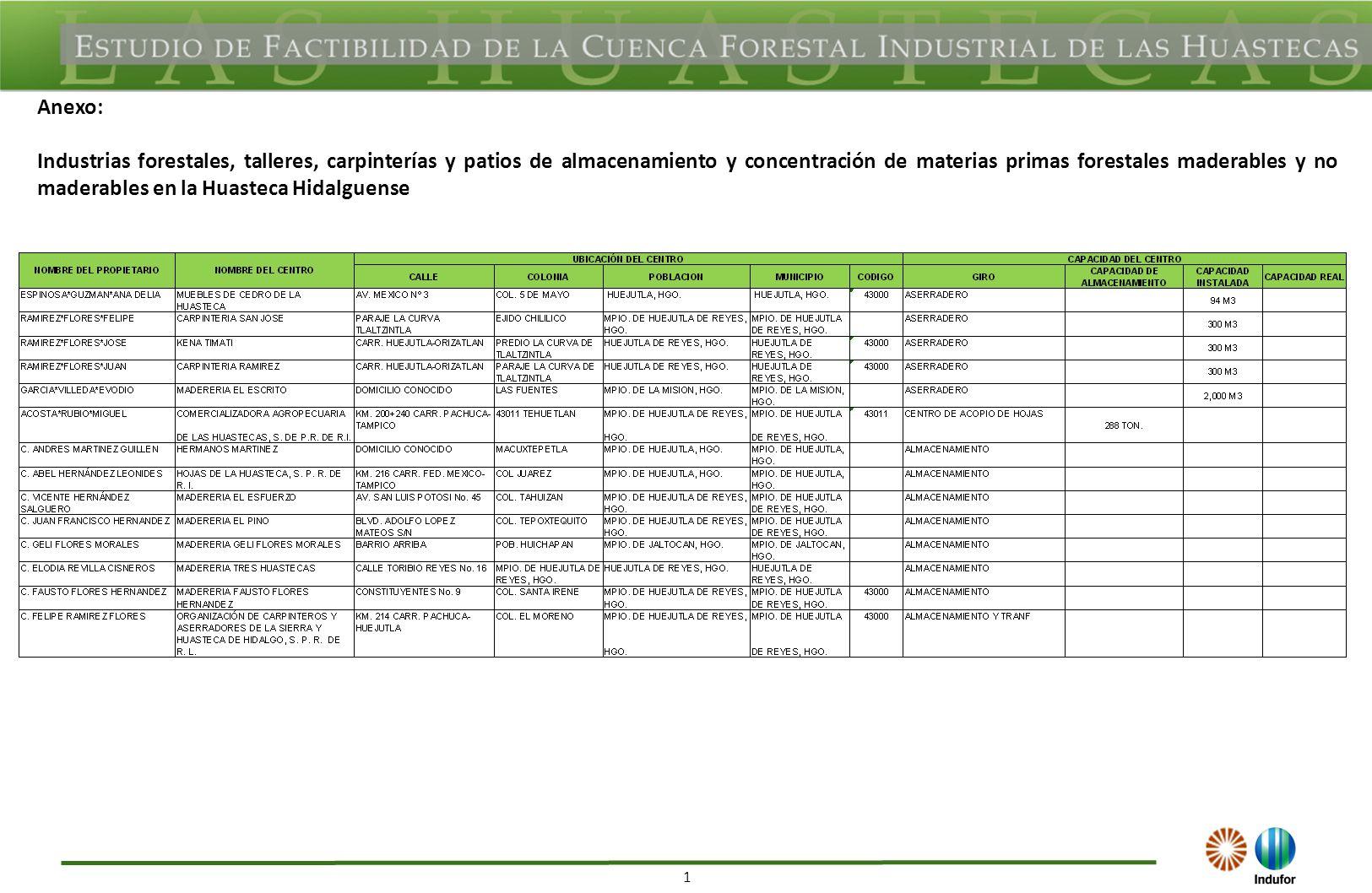 1 Anexo: Industrias forestales, talleres, carpinterías y patios de almacenamiento y concentración de materias primas forestales maderables y no maderables en la Huasteca Hidalguense