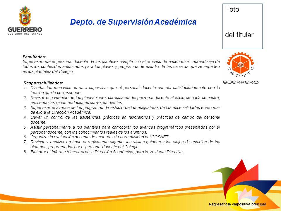 Facultades: Supervisar que el personal docente de los planteles cumpla con el proceso de enseñanza - aprendizaje de todos los contenidos autorizados p