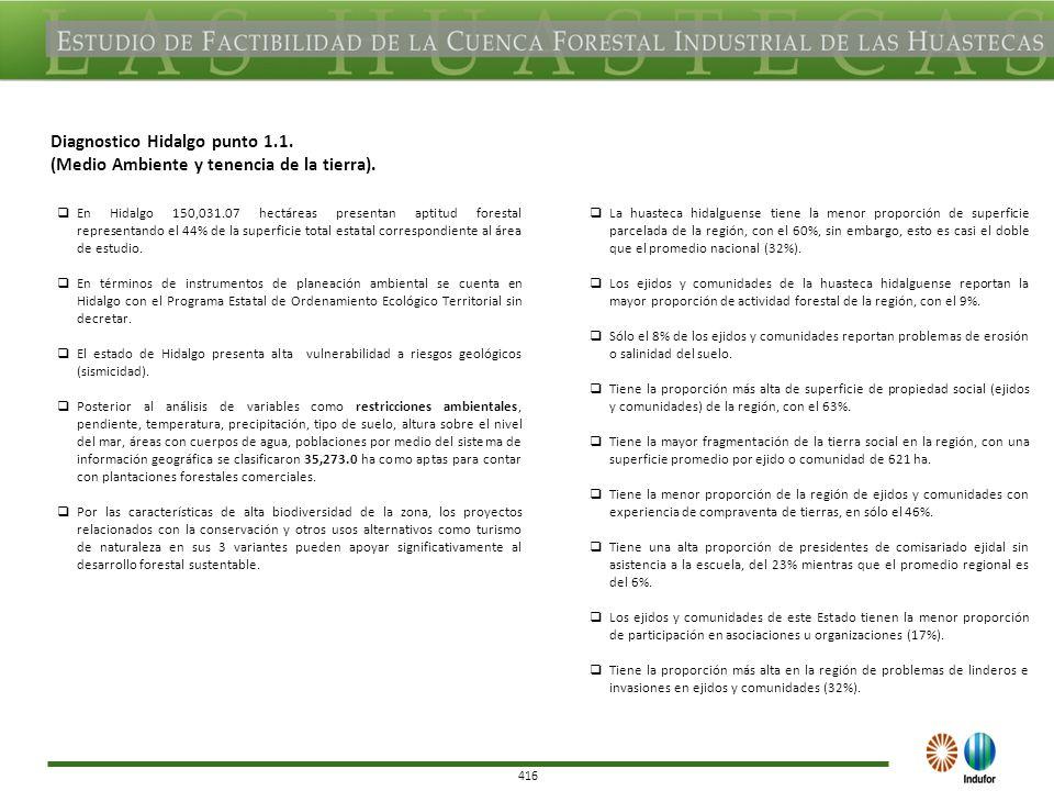 416 Diagnostico Hidalgo punto 1.1. (Medio Ambiente y tenencia de la tierra).