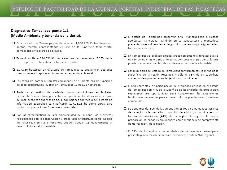 418 Diagnostico Tamaulipas punto 1.1. (Medio Ambiente y tenencia de la tierra).