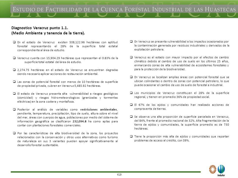 419 Diagnostico Veracruz punto 1.1. (Medio Ambiente y tenencia de la tierra).