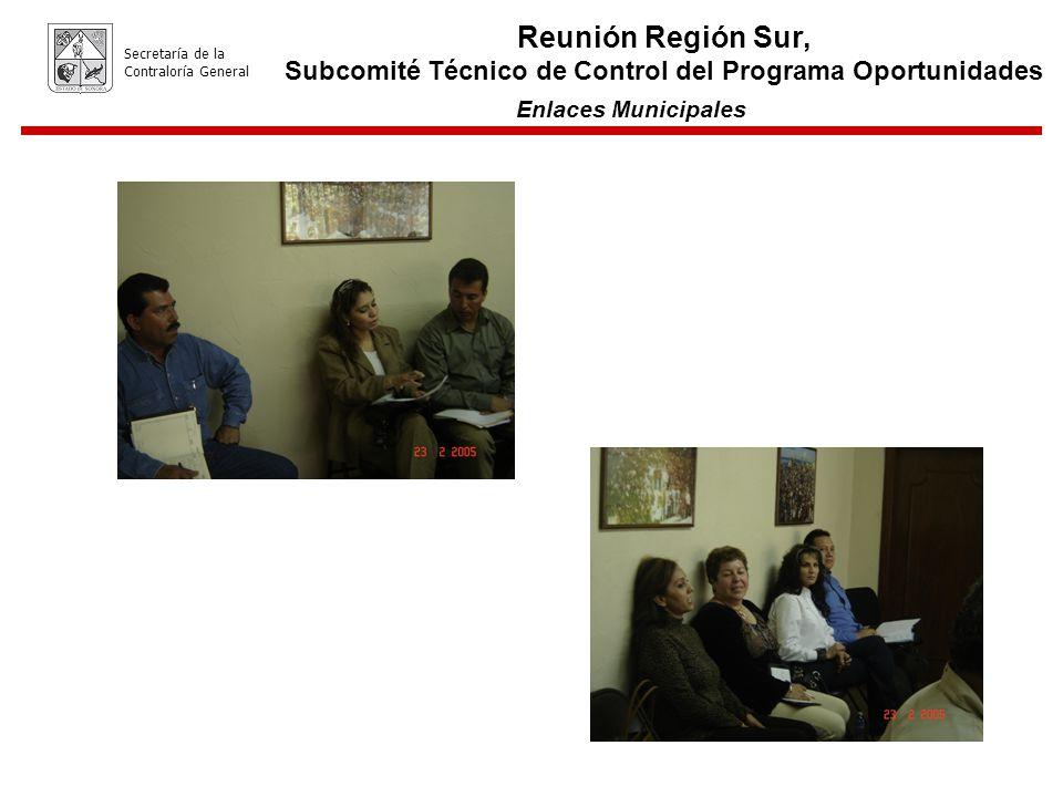 Enlaces Municipales Secretaría de la Contraloría General Reunión Región Sur, Subcomité Técnico de Control del Programa Oportunidades