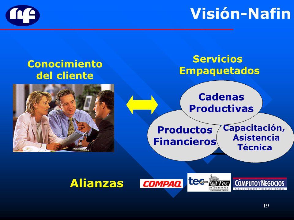 19 Visión-Nafin Conocimiento del cliente Productos Financieros Capacitación, Asistencia Técnica Cadenas Productivas Servicios Empaquetados Alianzas