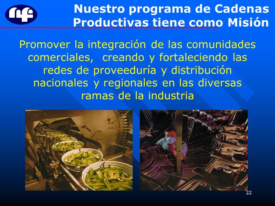 22 Promover la integración de las comunidades comerciales, creando y fortaleciendo las redes de proveeduría y distribución nacionales y regionales en