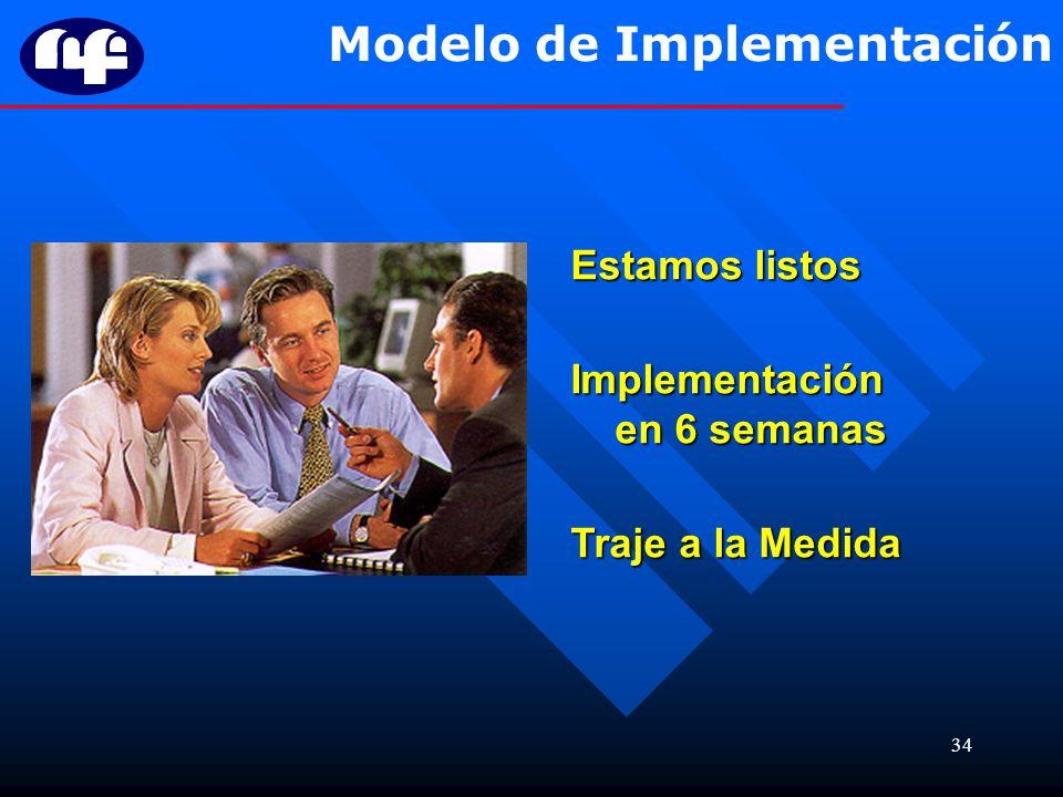 34 Modelo de Implementación Estamos listos Implementación en 6 semanas Traje a la Medida