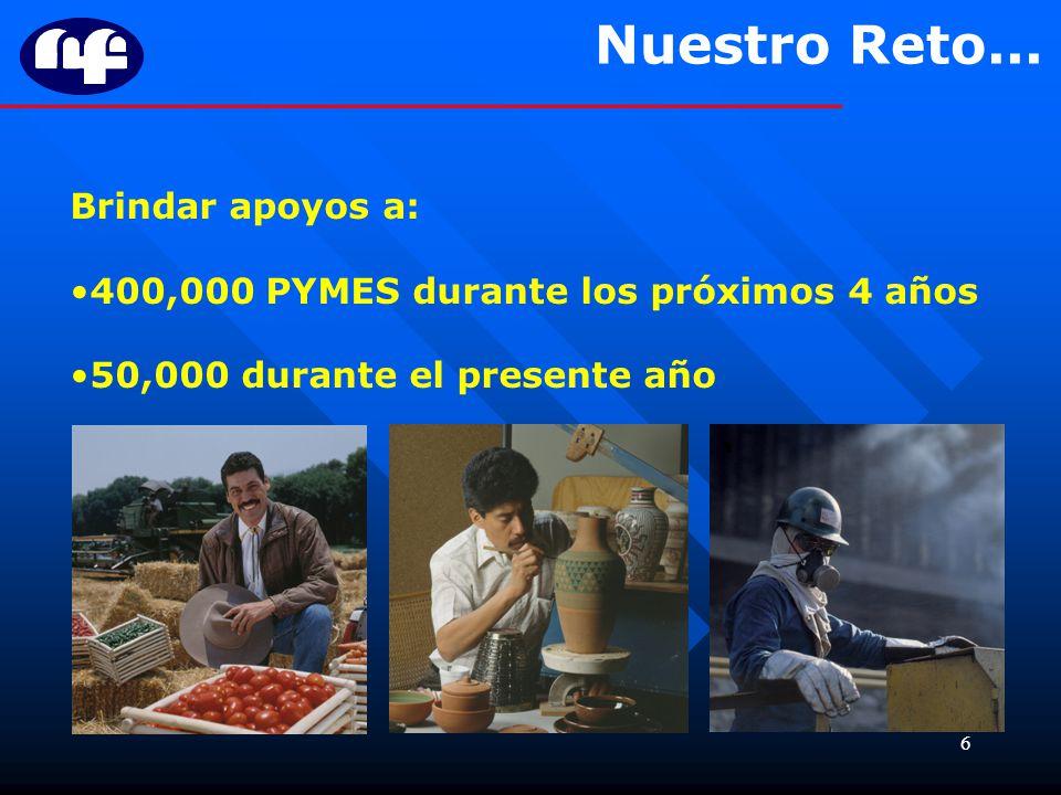 6 Brindar apoyos a: 400,000 PYMES durante los próximos 4 años 50,000 durante el presente año Nuestro Reto...