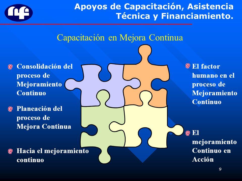 9 Apoyos de Capacitación, Asistencia Técnica y Financiamiento. Capacitación en Mejora Continua Hacia el mejoramiento continuo Planeación del proceso d