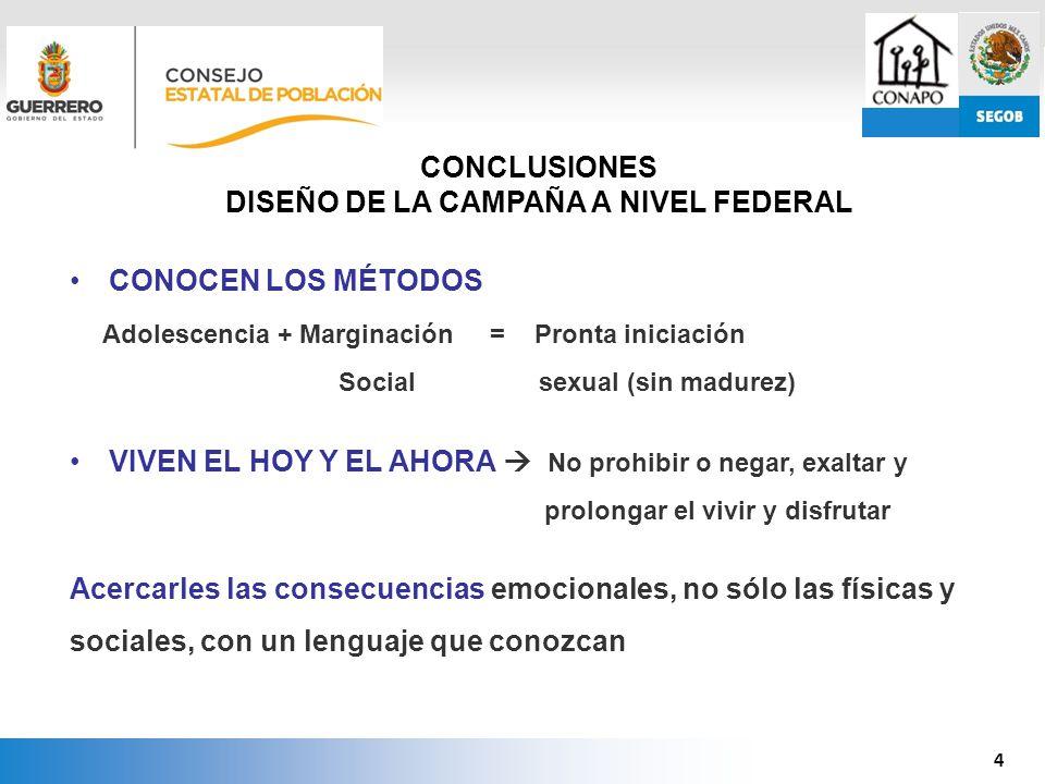 4 CONOCEN LOS MÉTODOS Adolescencia + Marginación = Pronta iniciación Social sexual (sin madurez) VIVEN EL HOY Y EL AHORA No prohibir o negar, exaltar