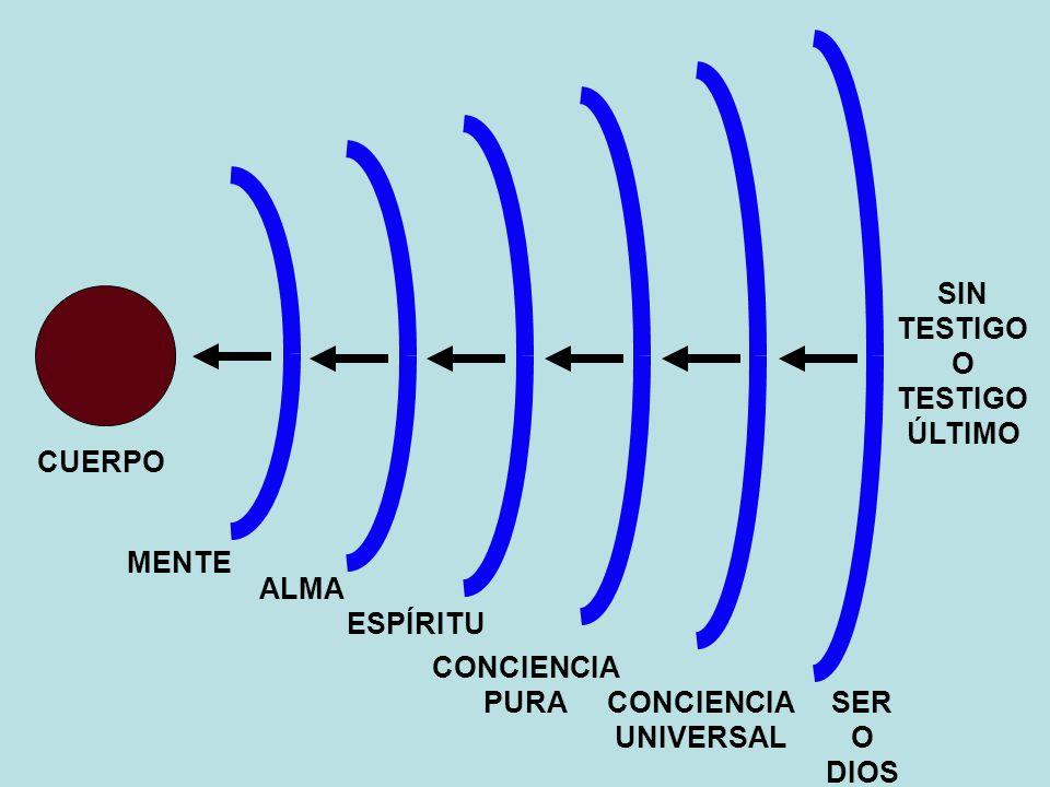 CUERPO SIN TESTIGO O TESTIGO ÚLTIMO MENTE ALMA ESPÍRITU CONCIENCIA PURA CONCIENCIA UNIVERSAL SER O DIOS