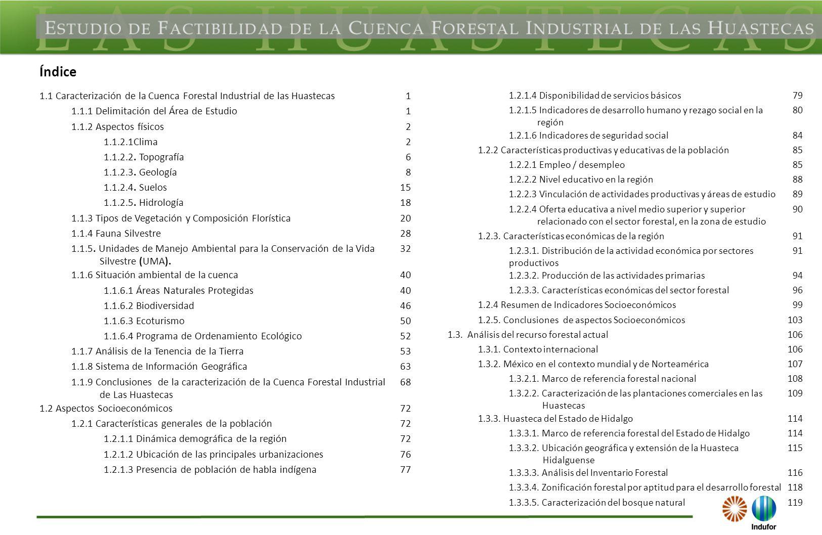 Índice 1.1 Caracterización de la Cuenca Forestal Industrial de las Huastecas1 1.1.1 Delimitación del Área de Estudio1 1.1.2 Aspectos físicos2 1.1.2.1C