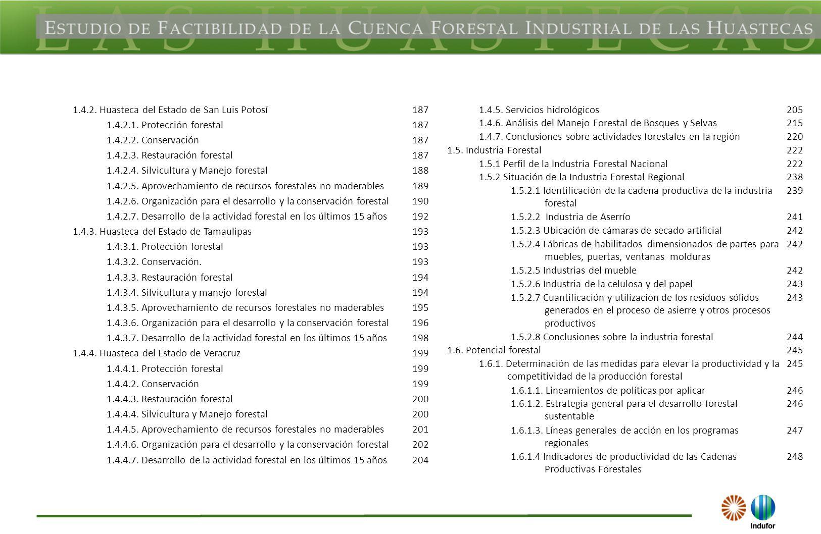 1.4.2. Huasteca del Estado de San Luis Potosí187 1.4.2.1. Protección forestal187 1.4.2.2. Conservación187 1.4.2.3. Restauración forestal187 1.4.2.4. S