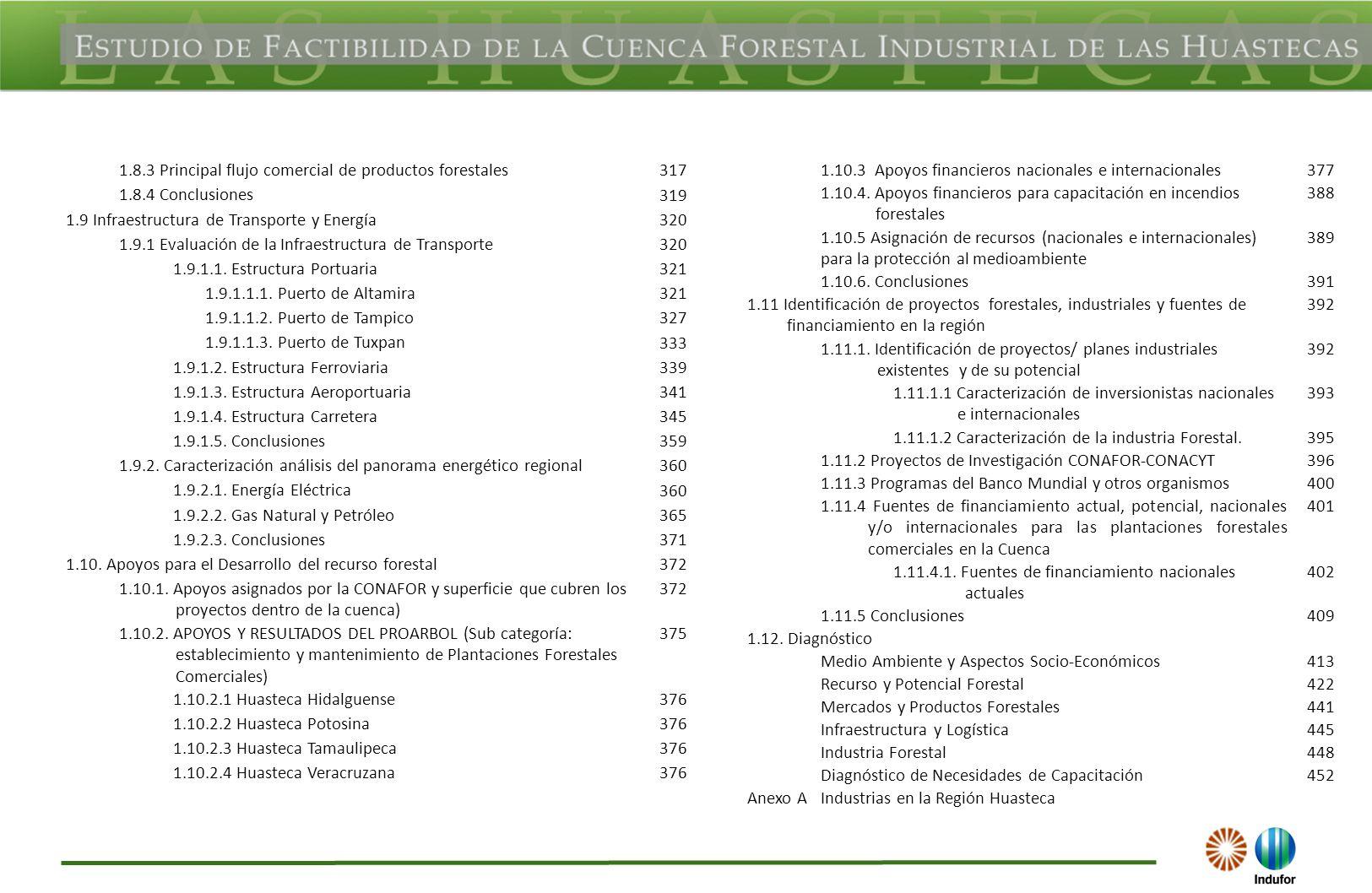1.8.3 Principal flujo comercial de productos forestales 317 1.8.4 Conclusiones 319 1.9 Infraestructura de Transporte y Energía 320 1.9.1 Evaluación de