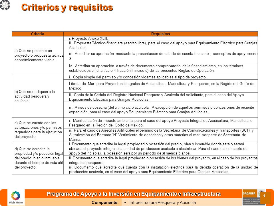 Programa de Apoyo a la Inversión en Equipamiento e Infraestructura Componente: Infraestructura Pesquera y Acuicola 4 Criterios y requisitos Criterios y requisitos : CriterioRequisitos a) Que se presente un proyecto o propuesta técnica económicamente viable.