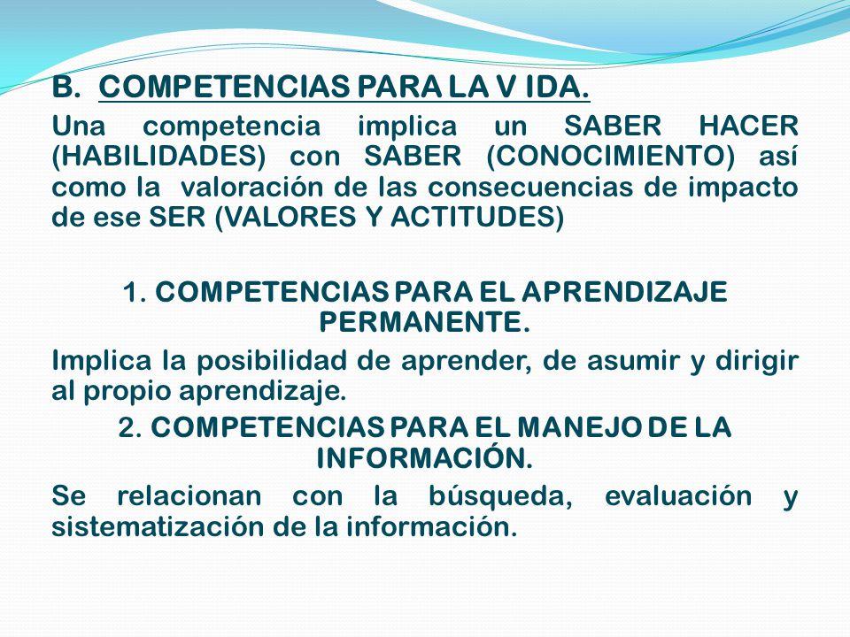 B.COMPETENCIAS PARA LA V IDA.