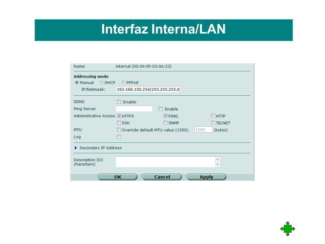 Interfaz Interna/LAN