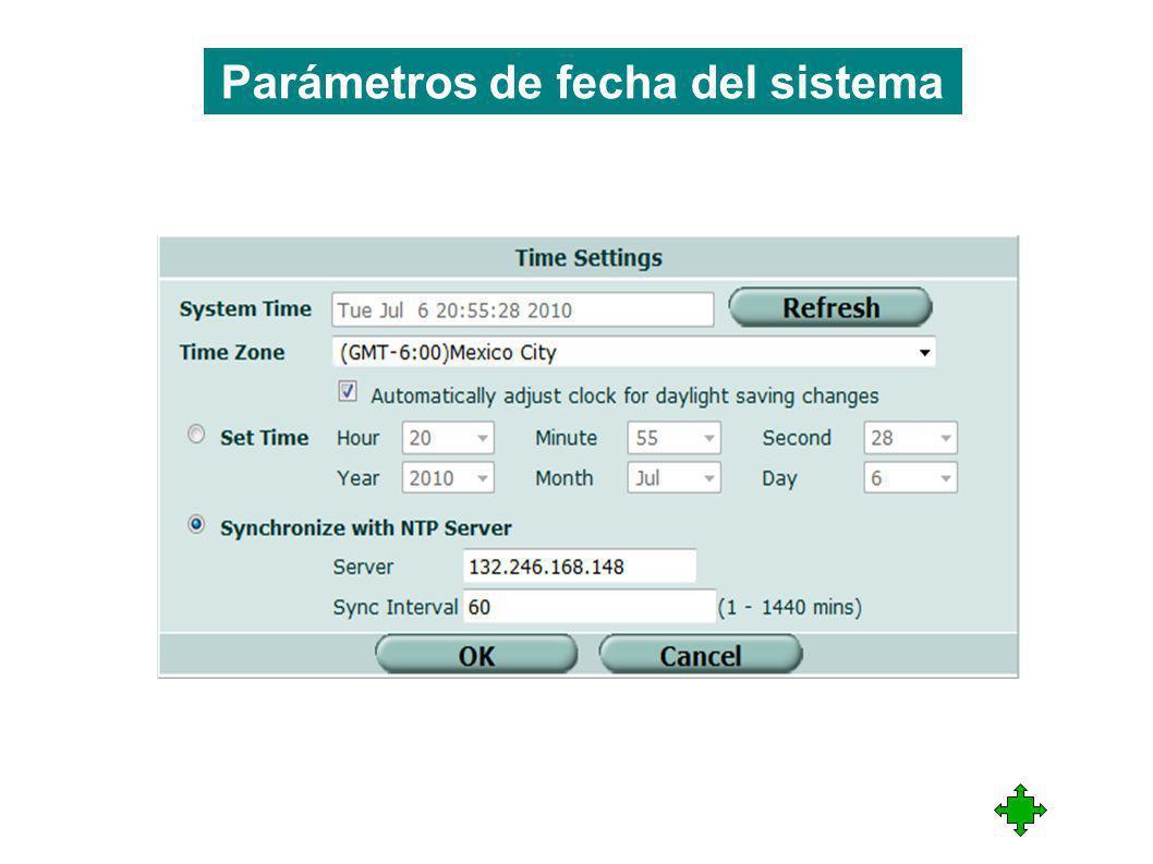 Parámetros de fecha del sistema