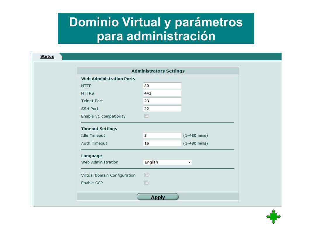 Dominio Virtual y parámetros para administración