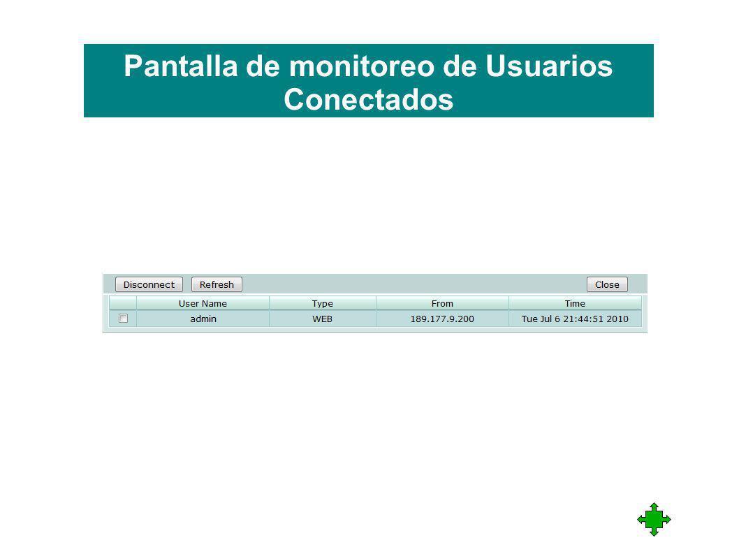 Pantalla de monitoreo de Usuarios Conectados