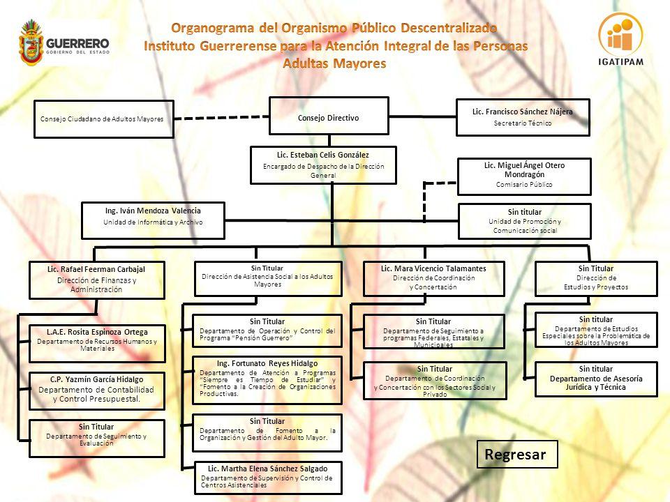 Facultades: Los Departamentos se apegarán a las funciones que se les asignen en el Manual de Organización del Instituto Guerrerense para la Atención Integral de las Personas Adultas Mayores.