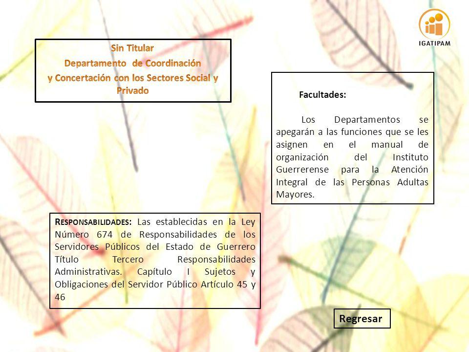 R ESPONSABILIDADES : Las establecidas en la Ley Número 674 de Responsabilidades de los Servidores Públicos del Estado de Guerrero Título Tercero Respo