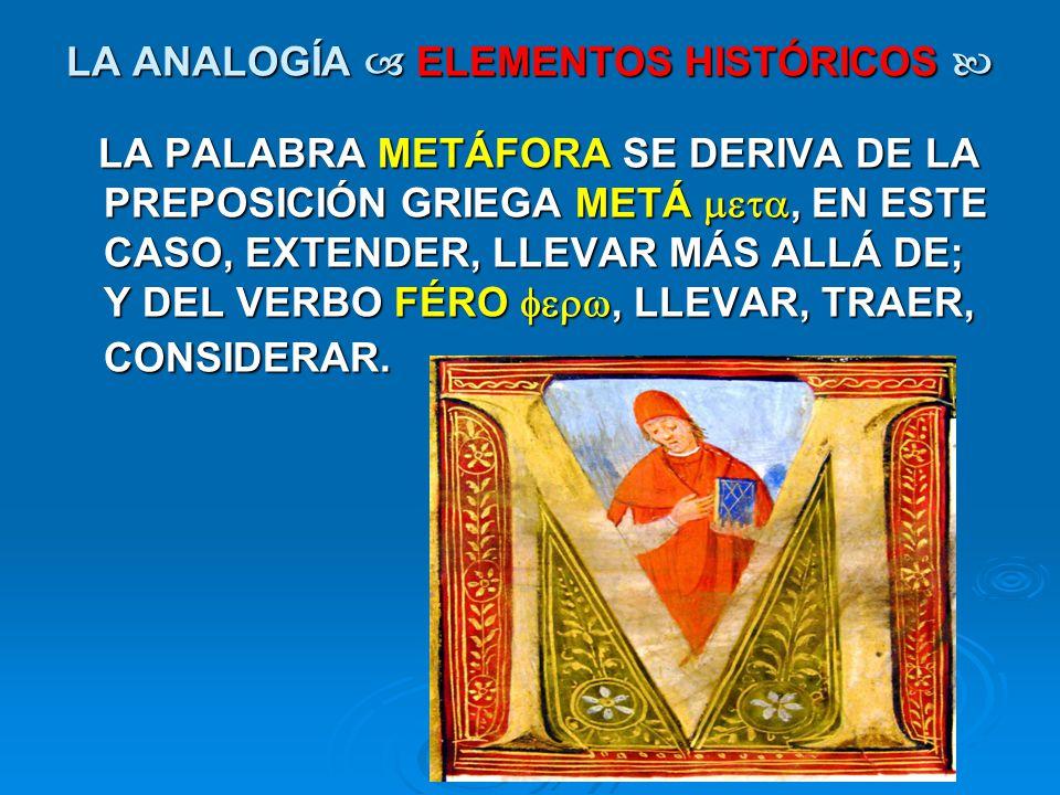 LA ANALOGÍA ELEMENTOS HISTÓRICOS LA ANALOGÍA ELEMENTOS HISTÓRICOS LA PALABRA METÁFORA SE DERIVA DE LA PREPOSICIÓN GRIEGA METÁ, EN ESTE CASO, EXTENDER,