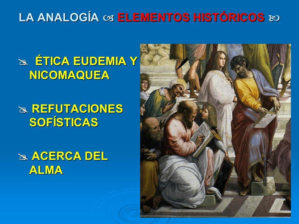 LA ANALOGÍA ELEMENTOS HISTÓRICOS LA ANALOGÍA ELEMENTOS HISTÓRICOS ÉTICA EUDEMIA Y NICOMAQUEA ÉTICA EUDEMIA Y NICOMAQUEA REFUTACIONES SOFÍSTICAS REFUTA