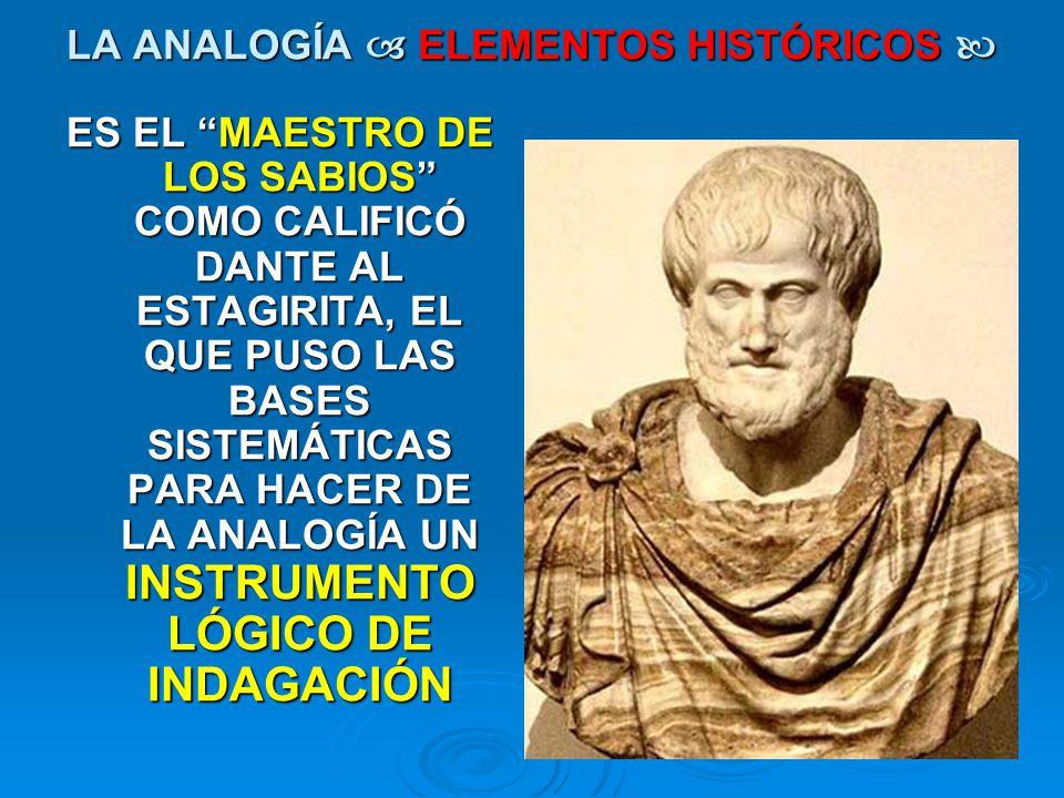 LA ANALOGÍA ELEMENTOS HISTÓRICOS LA ANALOGÍA ELEMENTOS HISTÓRICOS ES EL MAESTRO DE LOS SABIOS COMO CALIFICÓ DANTE AL ESTAGIRITA, EL QUE PUSO LAS BASES
