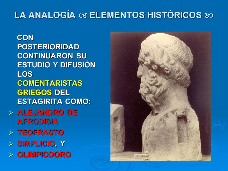 LA ANALOGÍA ELEMENTOS HISTÓRICOS LA ANALOGÍA ELEMENTOS HISTÓRICOS CON POSTERIORIDAD CONTINUARON SU ESTUDIO Y DIFUSIÓN LOS COMENTARISTAS GRIEGOS DEL ES