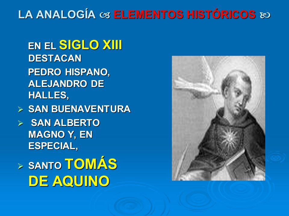 LA ANALOGÍA ELEMENTOS HISTÓRICOS LA ANALOGÍA ELEMENTOS HISTÓRICOS EN EL SIGLO XIII DESTACAN EN EL SIGLO XIII DESTACAN PEDRO HISPANO, ALEJANDRO DE HALL